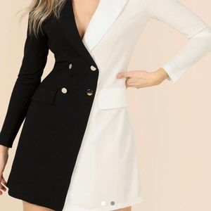 Dresses & Skirts - ✨Half Black, Half White Blazer Dress  in size S.